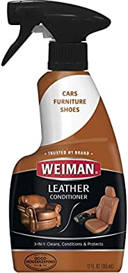 Weiman Leather Cleaner and Conditioner for Furniture - Cleans Conditions and Restores Leather Surfaces - UV Pr