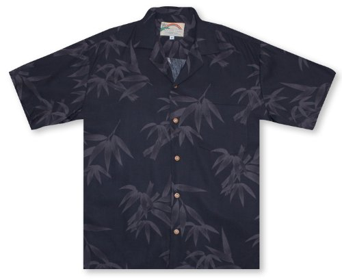 Island Paradise Hawaiian Shirt (Paradise Found Bamboo - Black Hawaiian Shirt)