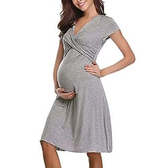 Vestido De Maternidad ZARLLE Moda para Mujer Embarazadas O-Cuello Raya Manga Corta Vestido De Maternidad De EnfermeríA Falda: Amazon.es: Ropa y accesorios