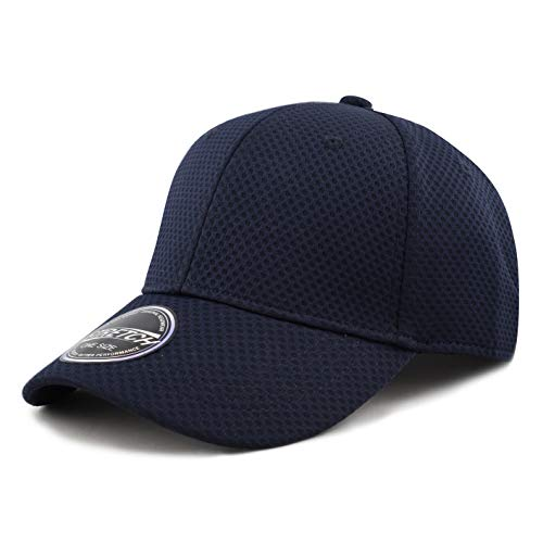 Men's Curved Brim Stretch Fit Mesh 6 Panel Fitted Cap (S/M, Navy) Dry 6 Panel Cap