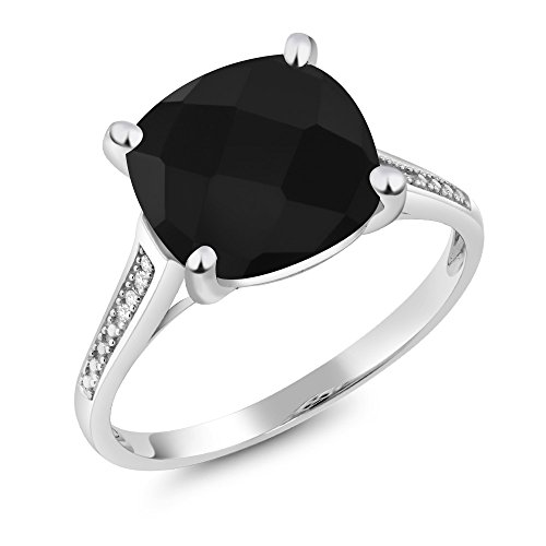 (Gem Stone King 10K White Gold Black Onyx and Diamond Women't Engagement Ring (3.60 Cttw Cushion Checkerboard Cut Available 5,6,7,8,9) (Size 5))