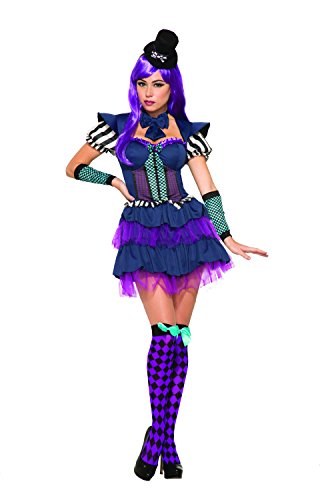Deluxe Mad Hatter Women's Costumes (Forum Women's Mad Hatter Deluxe Costume with Tiered Dress, Black/Purple, STD)