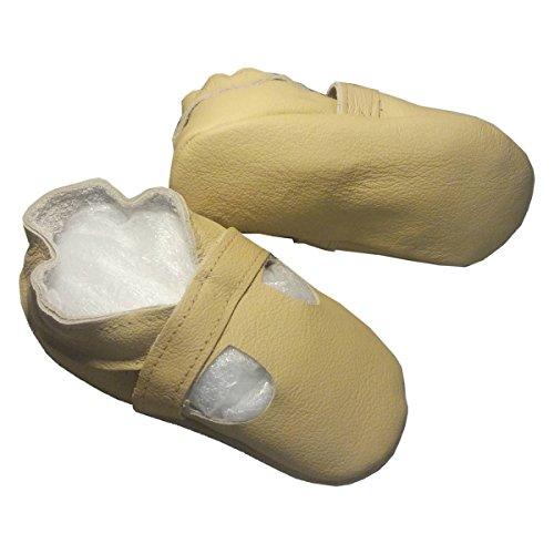 """""""sandalia beige de bbkdom- Zapatillas Bebé y niños en piel suave de calidad superior fabricación Europea de 0–5años beige beige Talla:Pointures 17-18 (0 à 6 mois)a beige"""