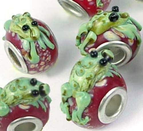 6 Lampwork Handmade Glass Fit Charm Bracelet Frog Beads -red