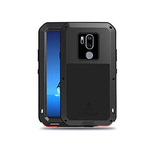 LG G7 Case,LG G7 ThinQ Case,Water Resistant Shockproof Aluminum Metal [Outter] Super Anti Shake Silicone [Inner] Fully Body Protection with Gorilla Glass Screen Protector for LG G7 ThinQ (Black)
