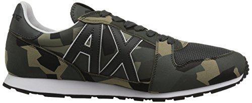 A   X Armani Exchange Mens Retro Running Sneaker Di Moda Sneaker Verde Mimetico