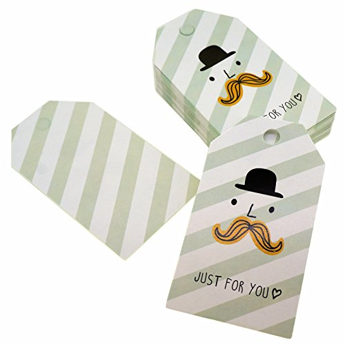 (Mustache Man Just for You Design Paper Gift / Price Tags with Color Twine for Gift Wrapping Packaging, Set of 48)