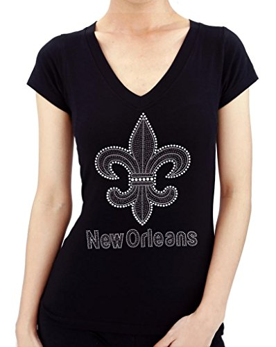 New Orleans Black/Silver Fleur De Lis Rhinestone (Rhinestone Fleur De Lis Tee)