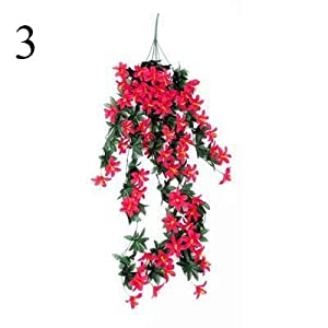 CoronationSun - Artificial Orchid - 1 Pcs Flower Rattan Lily Hanging Wall Hanging Orchid Basket Room Home Decoration Flower Artificial Flower Silk 27