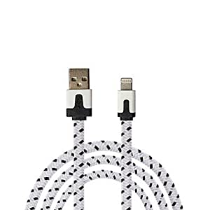 (Cable) Qianjiatian? Apple iPhone 6 iPhone 6 Plus iPhone 5/5s/5c IPad4/Mini Color Phone Lines Braided Flat Cable 1M , White