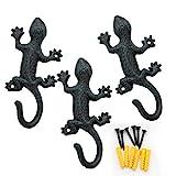 Coat Hooks Hanging Wall Mounted Rustic Decorative Gecko Hook, Cast Iron 6 Inch Key Holder Wall Decor, Set of 3