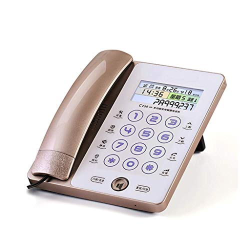 (Landline LCSHAN Retro Phone Caller ID Smart Touch Screen Luminous Button Home Office Fixed (Color : Gold))