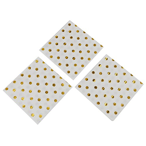 Geeklife Gold Paper Napkins ,Sparkly Gold Foil Dots Decorative Napkins Bulk for for Wedding ,Party and Cocktail ,2-ply ,40 pcs