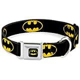 "Buckle Down Seatbelt Buckle Dog Collar - Batman Shield Black/Yellow - 1.5"" Wide - Fits 13-18"" Neck - Small"