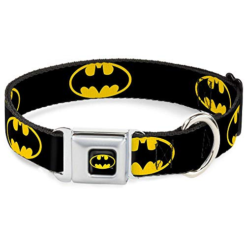 Dog Collar Seatbelt Buckle Batman Shield Black Yellow 18 to 32 Inches 1.5 Inch Wide