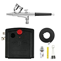 HUBEST Portable Dual Action Mini Air Compressor Airbrush Kit for Make up Art Painting Tattoo Spray Model with Airbrush Cleaning Set Air Filter