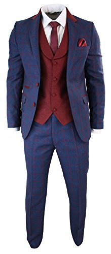 Mens Blue Burgundy Check 3 Piece Suit Tailored Fit Tweed Retro Smart (Retro Suits For Mens)