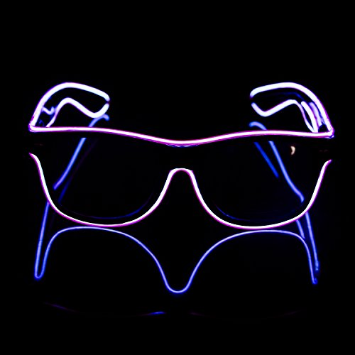 iChase EL Wire LED Glasses ,EL Wire Fashion Neon Electroluminescent Flashing LED Glasses with Battery Case Controller for Halloween Christmas Birthday Party Favor - Try Change Eyeglasses