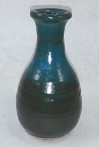 """MESSAGE IN A BOTTLE /""""Gentleness/"""" on a BLUE Glazed Bottle NEW USA made/_of/_clay"""
