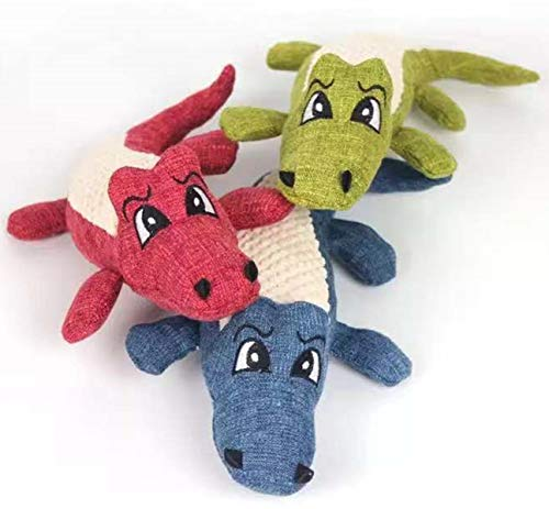 TECH-P Creative Life Pet Stuffed Toy Puppy Squeaker Squeaky Plush Sound Toy for Dog Cat Pets Sound Toys-Crocodile.Pack of 3,Upgraded.