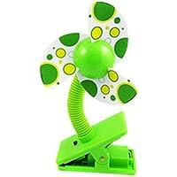 Ventilador de pinza para cochecitos/cunas para bebé (verde)