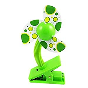 Baby Clip-on Mini Stroller Fan for Strollers Baby Cots Playpens (Green)