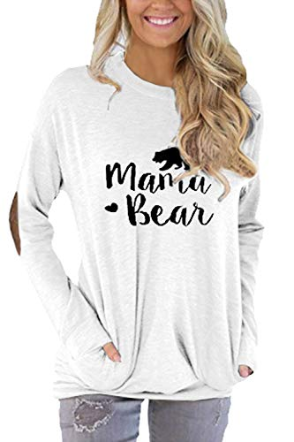 Pink Queen Women's Mama Bear T-Shirt Batwing Long Sleeve Tunic Tops White Size S