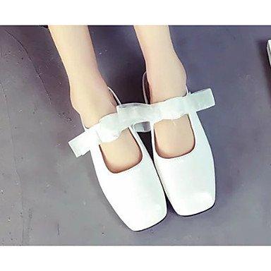 LvYuan Mujer-Tacón Bajo-Confort-Sandalias-Vestido Informal-PU-Negro Marrón Blanco White
