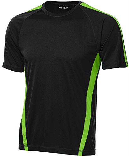 (Joe's USA Men's Short Sleeve Moisture Wicking Athletic T-Shirt-Lime/Black-S )
