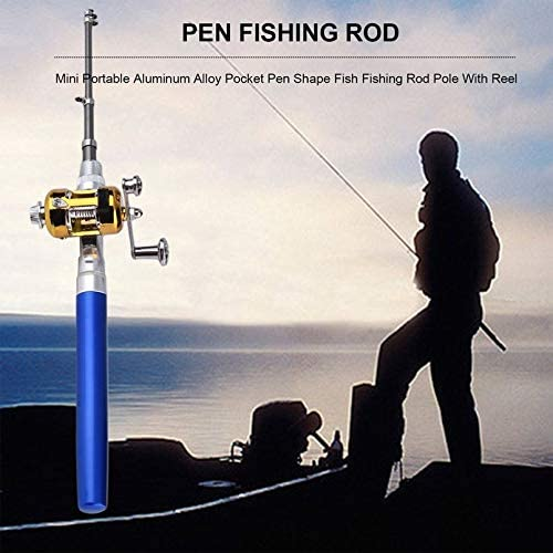 sahnah Unique Design Fishing Rod Portable Mini Fishing Pole Aluminum Alloy Pen Shape Fishing Rod with Reel Wheel 6 Colors