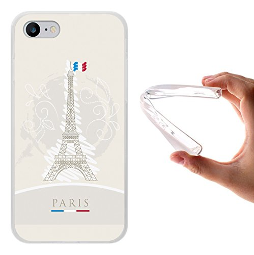WoowCase Hülle Case für [ iPhone 7 ] Handy Cover Schutzhülle Eiffelturm und Frankreichsfahne