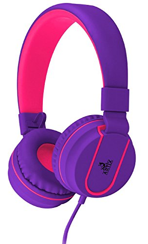 ARTIX Headphones with Microphone for Travel, Work, Kids, Teens, Running Sport with In-line Controller (Purple)