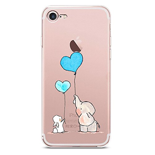 Whimsical Rabbit - iPhone 7 Case, iPhone 8 Case, JICUIKE Amusing Whimsical Design Cute Animal Rabbit Pattern Print Clear TPU Soft Shell Rubber Silicone Skin Back Cover 4.7 Inch [Balloon Elephant]