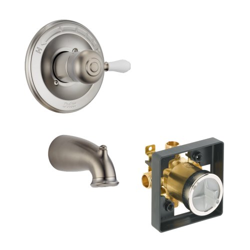(Delta Delta KTDLE-T14178H777-SS Leland Tub Filler Kit Pressure-Balance Single-Function Cartridge with Porcelain Lever Handle, Brilliance Stainless Brilliance Stainless)