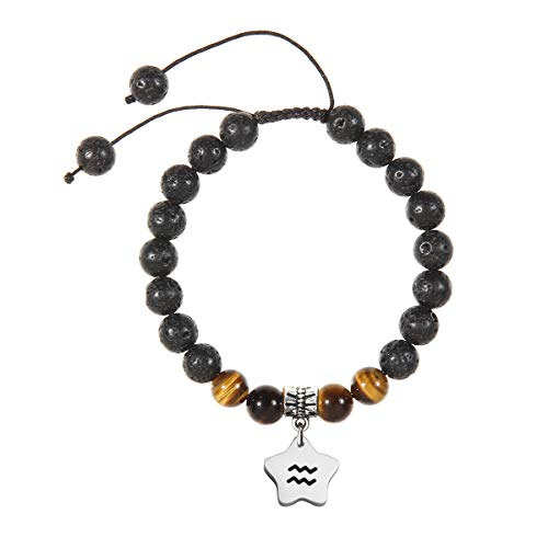 Meibai Handmade 8mm Lava Rock Tiger Eye Natural Stone Beads Bracelet with Constellation Zodiac Sign Charm Adjustable Size (Aquarius-Star)