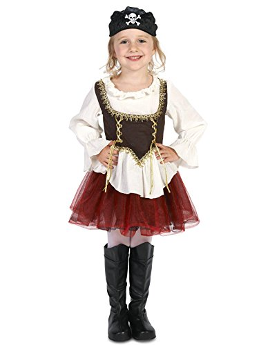 (Pirate Tutu Girl Toddler Costume 3-4T Black/White)