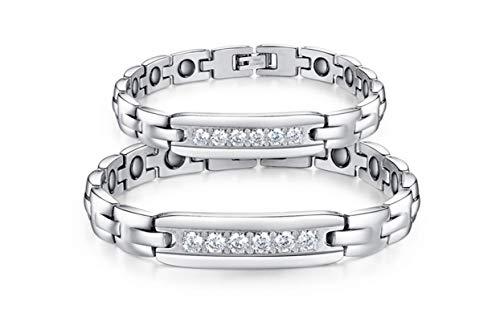 (Gnzoe Men Stainless Steel Bracelet, Bangle Bracelet Cubic Zirconia Polishing Magnetic Zirconi White 21)