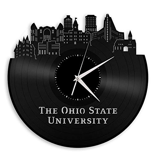 VinylShopUS - Ohio State University Vinyl Wall Clock City Skyline Unique Gift for Students Room | Home Decoration