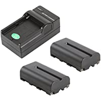 VILTROX NP-F550 2400mAh Battery ( 2 pack ) +battery Charger ,for Sony HandyCams and LED On-Camera Video Lights Using NP-F550 batteries