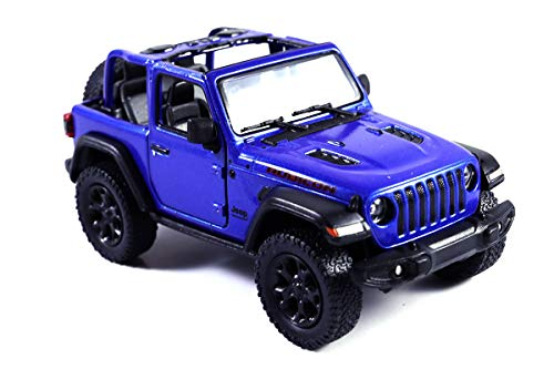 (HCK Jeep Wrangler Rubicon 4x4 Convertible Off Road Exploration Diecast Model Toy Car Blue)