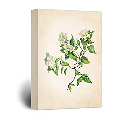 Watercolor Style White Flowers with Green Leaves, Original Creation, Beautiful Artisanship