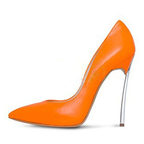 Shoes Stiletto High Wedding Pointed onlymaker Dress Orange Heel Slip Party Women's A Pumps On Toe Y7aXY