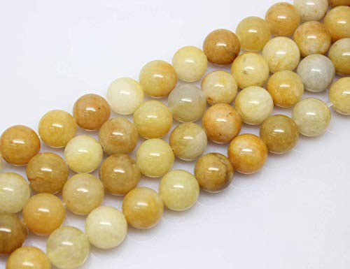 10mm Round Yellow Jade Beads Loose Gemstone Beads for Jewelry Making Strand 15 Inch (38-40pcs)