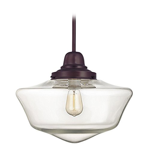 (16-Inch Clear Glass Schoolhouse Hanging Pendant Light in Bronze Finish)