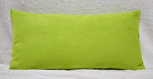 Creative Luxury Faux Suede Decorative pillow COVER - 12 By 24 Lime