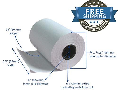 Receipt 10 Paper Rolls (Thermal Paper Rolls 2 1/4 X 50 Verifone Vx520 Ingenico ICT220 ICT250 FD400 (10 rolls))
