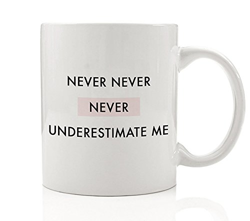 Never Never Never Underestimate Me Coffee Mug Gift Idea Female Strength Power Fierce Strong Woman Warrior Pink Fighter Birthday Christmas Present Lady Boss - 11oz Ceramic Tea Cup by Digibuddha DM0085