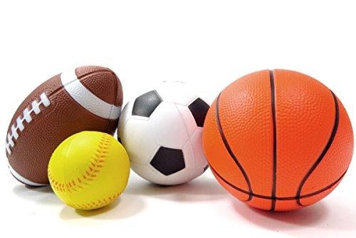 PowerTRC® Set of 4 Sports Balls for Kids (Soccer Ball, Basketball, Football, Baseball)