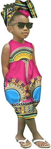 WOCACHI Toddler Baby Girls Overall, African Boho Outfits Sleeveless Harem Romper Jumpsuit Bodysuit with Headband