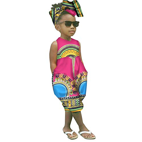 WOCACHI Toddler Kid Baby Girls African Boho Sleeveless Romper Hair Band Bodysuit Jumpsuit Clothes 2019 Summer Under 5 Dollars Deals Red
